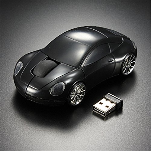 Interesting® Schwarzes 3D drahtloses optisches 2.4G stilvolles Auto geformte Maus Mäuse für PC Laptop