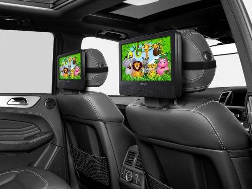 Odys Seal 9 tragbarer DVD-Player (mit zusätzlichem, drehbarem Bildschirm, 23 cm (9 Zoll), hochauflösendes digitales TFT-Display (800x480 Pixel), USB, SD-Card), Autopaket, Fernbedienung, schwarz