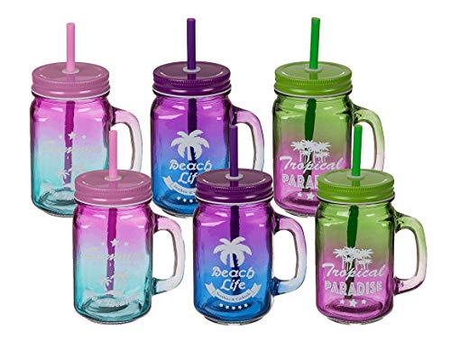 Pullach Hof 6 Stück Trinkglas mit Deckel und Trinkhalm 6er Set Trinkgläser mit Henkel und Schutz Schraubdeckel Auswahl (Tropical-Fun)