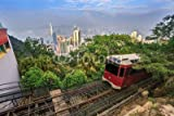 "Alu-Dibond-Bild 90 x 60 cm: ""The Victoria Peak Tram and Hong Kong city skyline"", Bild auf Alu-Dibond"