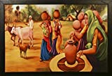 #4: PAF Rajasthani Village Framed Painting (Wood, 35 cm x 2 cm x 50 cm, Special Blue Textured UV Reprint)