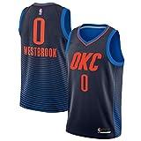 ROMANBA NBA OKC Westbrook 0 Swingman Men Jersey Trikots Herren (Schwarz, L)