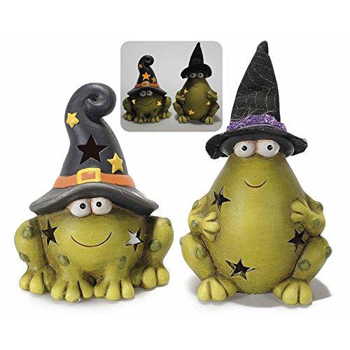Paar Frösche von Halloween aus Keramik mit LED. Kürbis Party Frösche Hexe