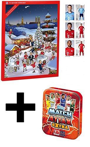 Preisvergleich Produktbild FC Bayern München Adventskalender 2016 inkl. 5 Euro Bayern München Gutschein + Topps Match Attax EXTRA Saison 2013 / 14 - Mini-Tin