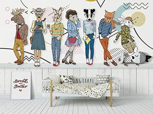 Murales Nordiques En Carton Forêt Animal Papier Peint De Luxe Mur Peinture Wall Art Hd Impressions Sur Toile Papier Peint-200 * 408Cm