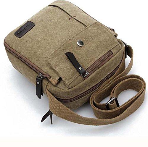 Sharplace Herren Retro Vintage Schultertasche Segeltuch Umhängetasche Unisex Crossbody Bag Khaki