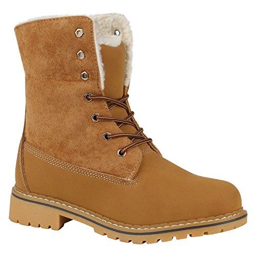 Stiefelparadies Warm Gefütterte Damen Stiefeletten Worker Boots Kunstfell Schuhe Flandell Hellbraun Bernice