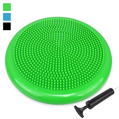Trideer® Balance Boards/Air Stability Wobble Cushion/ Exercise Disc Balance Cushion/ Fitness Stability Pad/Air Balance Cushion - Black/Blue/Green, 34cm/13.4 in Diameter, 4cm/1.57inch by Height, Pump Included (green)