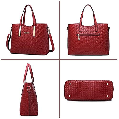 Tibes Fashion Pu Leather Handbag+Shoulder Bag+Purse 3pcs Bag Wine Red