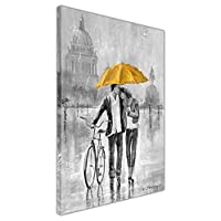 Black and White Romantic Couple with Bicycle Holding Blue Umbrella on Framed Canvas Print Wall Art Pictures