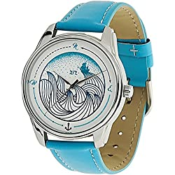 ZIZ Blue Waves Watch Unisex Wrist Watch, Quartz Analog Watch with Leather Band