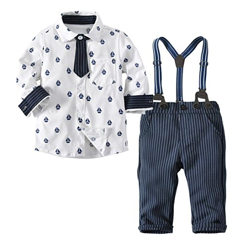 (Neugeborene Baby 2 Stück Gentleman Kleidung Set Junge Langarm Krawatte Hemden Tops T-Shirt+ Gestreift Bib Hose Pants Outfits Set Kleinkind Kinder Baumwolle Hochzeit Kleider Babykleidung)