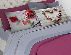 Idea Regalo - Completo Lenzuola Matrimoniale - ROSE CUORE D' AMORE - STAMPA DIGITALE - in cotone Italiano - Made in Italy - Prodotto di Qualità