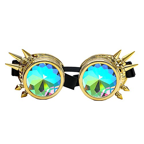 VRTUR Kaleidoscope Goggles Weinlese-Art Gotische Retro Steampunk Cosplay Brille Glasses Welding Punk Brille Sonnenbrille Linse Glasses(One size,Gold)