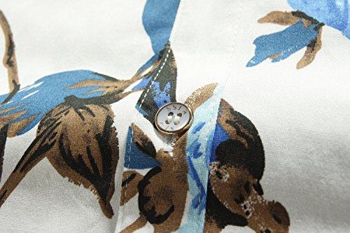 SSLR Herren Sommer Rosa Slim Fit Button Down Kurzarm Freizeit Hemd Weiß Blau