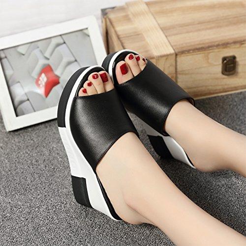 ZYUSHIZ Sommer Hausschuhe weiblichen Dicken Hang mit schönen Sandalen 2017 Das neue Wort Sexy Hausschuhe, trug einen kühlen und weibliche Video Thin Schwarz