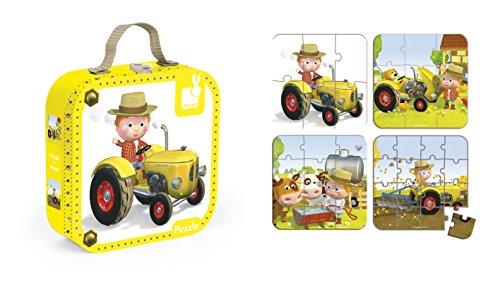 Janod J02886 - Puzzle 4 Motive Im Koffer, PeterS Traktor (Koffer Traktor)