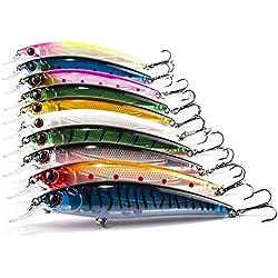 JOYOOO Señuelos de Pesca Profundo Cebos Minnow Swimbaits Hardbaits para Siluro lucio 11cm, Paquete de 10