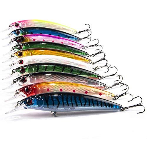 Aozzy 10pcs/11cm di minow fishing lure bait dura con ganci in metallo a sfera tackle