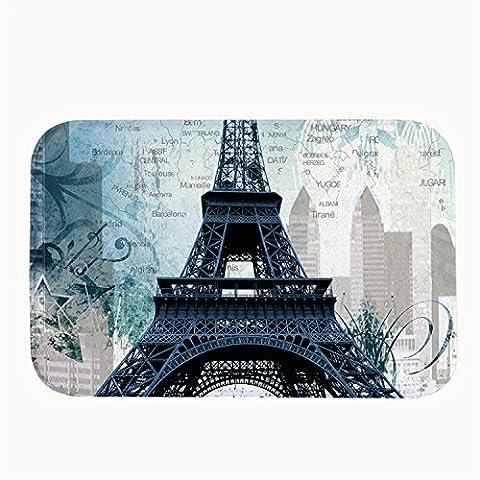 whiangfsoo Vintage Torre Eiffel Super Assorbente Tappetino da bagno porta