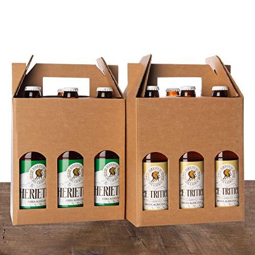 Birra chiara e birra rossa - birra artigianale agricola - (6 ecce triticum in stile weiss + 6 herietius double ipa- confezione da 12 bottiglie 33 cl - messaggio di auguri e confezione regalo