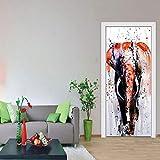 3d tür aufkleber gemalt elefanten bild, diy kunst kreative dekorative tapete poster vinyl aufkleber, wasserdicht abnehmbare 77x200 cm