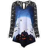 Halloween MEIbax Damen Kürbis Design T-Shirt Bluse Spitzeneinsatz Shirt Top Blumendruck Vintage Tunika Oberteile Langarmshirt Hemd