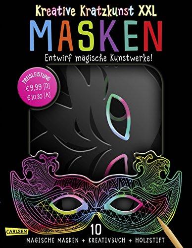 XXL: Masken: Set mit 10 Kratz-Masken, Anleitungsbuch und Holzstift: 10 Kinder-Masken ideal für Fasching und Geburtstag (Halloween-lernen Online-spiele)