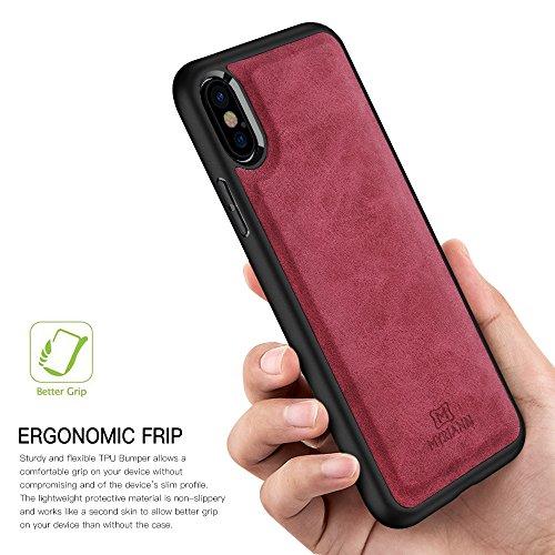 iPhone X Hülle, Myriann Premium Leder Rücken Flexible TPU Silikon Hybrid Weichen Slim Cover Case für iPhone X (Schwarz) Rot
