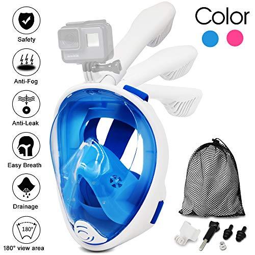 Máscara de Buceo para Snorkel con 180° Vista Panorámica Buceo natación Fácil respiración Máscara facial completa Anti-Fugas y Anti-Niebla para Adultos Niños con tapón de auriculares (Blue1, XS)