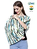 Feather Hug 360° Nursing Cover for Breastfeeding mother, women, Mom, Multi Use, Feeding Cloak,Poncho, scarf, ups, Wrap, Breathable, Canopy, Babysitting, Maternity, Kurti, Shawl, Apron, Poplin (Green Blue Stripes)