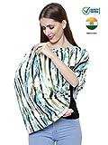 Feather Hug 360° Nursing Cover for Breastfeeding mother, women, Mom, Multi Use, Feeding Cloak,Poncho, scarf, ups, Wrap, Breathable, Canopy, Babysitting, Maternity, Kurti, Shawl, Apron, Poplin (Green Blue Stripes)