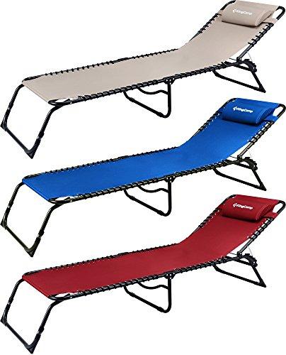 KingCamp 3 Liegestellen Terrasse Salon Stuhl - Tragbares Falten Chaise Bett für Draußen drinnen Möbel Haus Garten Hof Schwimmbad Strand Camping Schlaf SPA mit abnehmbarem Kissen