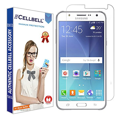 CELLBELL® Tempered Glass Screen Protector for Samsung Galaxy J7 (2015) with Free Installation Kit