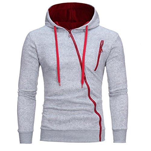 VEMOW Sommer Herbst Herren Langarm Casual Business Hoodie Kapuzenpullover Tops Jacke Mantel Outwear(Grau, EU-50/CN-M)