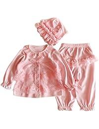 Bekleidung Longra Säugling neugeborenes Mädchen Kleidung Lace Cardigan + lange Hosen + Mütze Hut Set Outfit Baby Kleidung(0-12Monate)