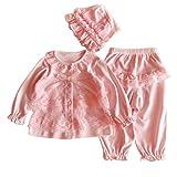 Bekleidung Longra Säugling neugeborenes Mädchen Kleidung Lace Cardigan + Lange Hosen + Mütze Hut Set Outfit Baby Kleidung(0-12Monate) (50CM 0-3Monate, Pink)