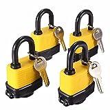 Mohoo 4 piezas resistente al agua laminada mismo candado llave maestra cerradura de la puerta con 8 teclas