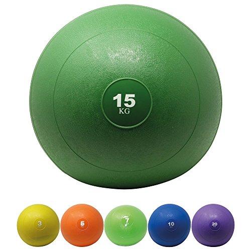 POWRX Slamball I Medizinball 3 - 20 kg I Slam Ball versch. Farben (15 kg / Grün) (Slam Medizin Ball)