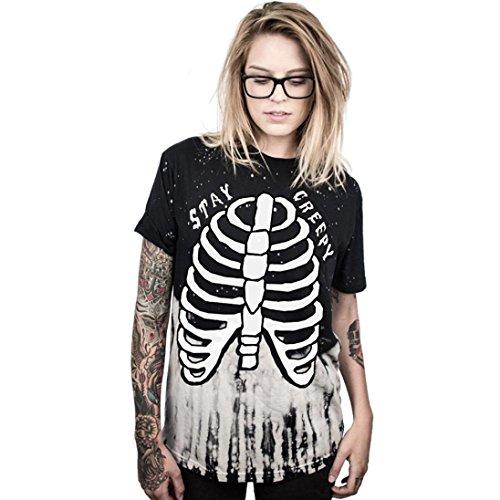 Halloween Kostüm Damen AMUSTER.DAN Halloween Tank Top Bluse Punk Rock T-Shirt (M, - Mädchen Für Punk-rock-halloween-kostüm