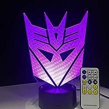 Máscara De Transformers 3D Led Luces Nocturnas Atmósfera Lámpara De Mesa 7 Colores Para Niños Dormitorio