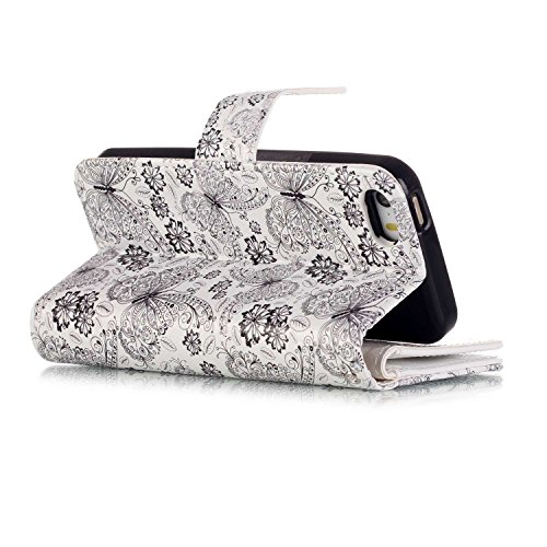 Etsue pour iPhone 6 Plus,6S Plus Coque,Premium Cuir Etui Coque Stand Portefeuille Case Avec Coloré Motif pour iPhone 6 Plus,6S Plus,[Pissenlit Pourpre] Motif Embossing Colorful Pattern Housse pour iPh Leopard
