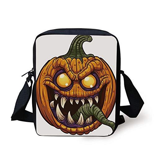 Halloween,Scary Pumpkin Monster Evil Character with Fangs Aggressive Cartoon,Purple Orange Dark Green Print Kids Crossbody Messenger Bag Purse