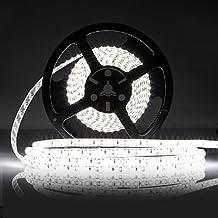 LEDMO Cinta de Luz, Cinta de luz LED blanco 6000K, SMD2835-600led 12V IP65 Resistente al Agua 5 metros alta luminosidad 15LM/LED, alta CRI80 cinta luz para la iluminación del gabinete de cocina, dormitorio, contraluz de TV, decorativa.