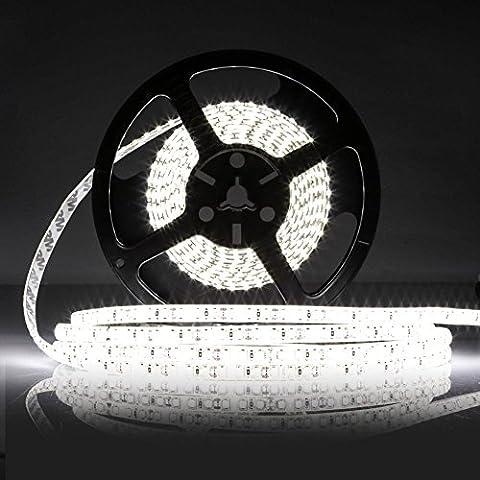 LEDMO® Kaltweiß LED Streifen,led band 5 Meter 6000k läng Wasserdicht Flexible lichtband mit 600 LEDs (SMD2835), für den Innenraum und Halb-außenraum Balkon.