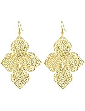 2LIVEfor Lange Ohrringe Gold Silber Ornamente Blumen Blatt Stern Rund Ohrhänger Retro Ohrringe lang hängend Vintage...