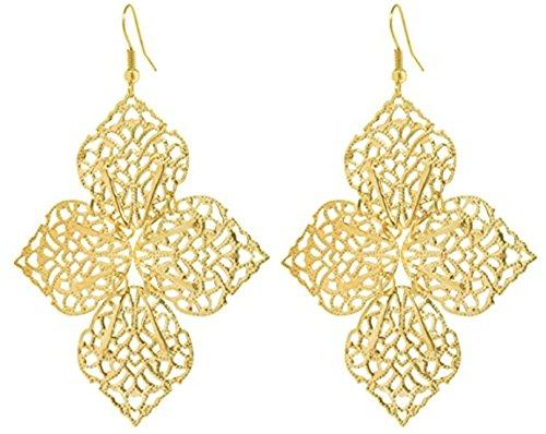 2LIVEfor Lange Ohrringe Gold Silber Ornamente Blumen Blatt Stern Rund Ohrhänger Retro Ohrringe lang hängend Vintage Groß Tropfen Blaetter Bohemian (Gold)