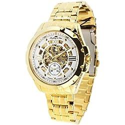 Lindberg & Sons SK14H029 - Reloj mecanico automatico analogico de pulsera con diamante real para hombre, diseño esqueleto, acero inoxidable, dorado