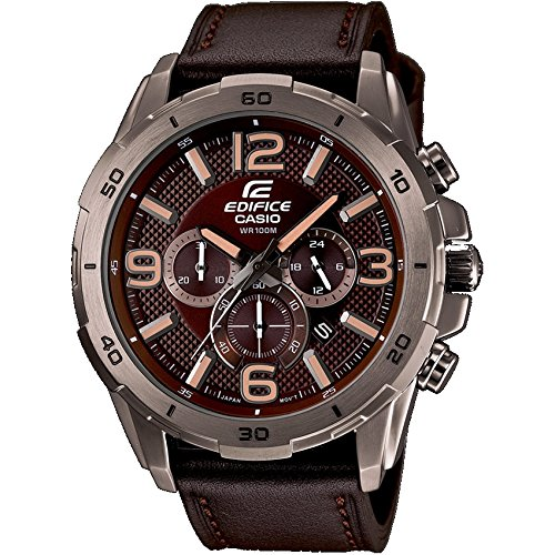 Casio Herren-Armbanduhr XL Edifice Analog Quarz Leder EFR-538L-5AVUEF