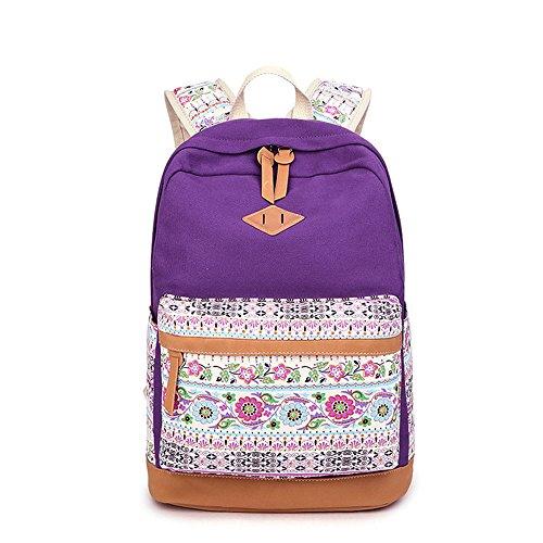 Blume gedruckten Casual Canvas Laptop Tasche Schule Rucksack leichte Rucksäcke für Teen junge Mädchen Lila
